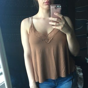 American Eagle Camel Lace Racer-back Tank Top